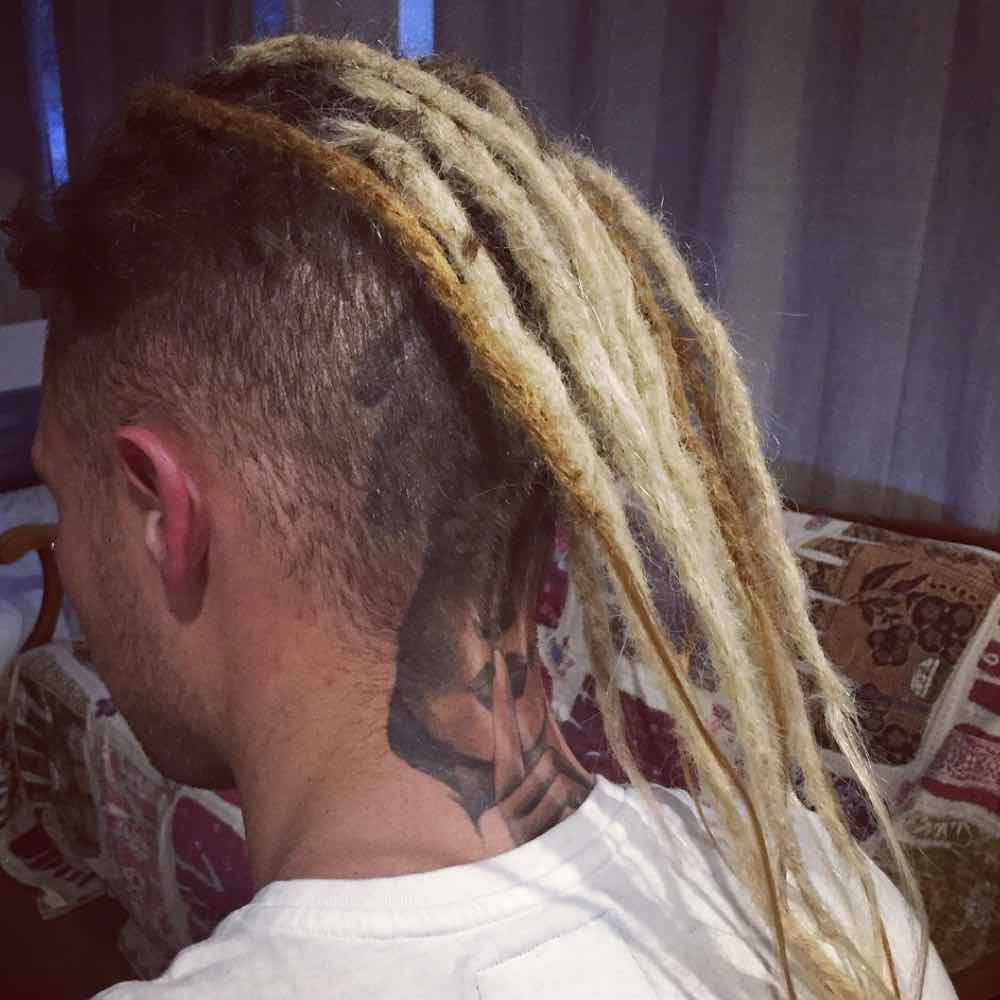 Dread extensions male, short dreadlocks, ombre faux locs, blond faux locs, light brown faux locs