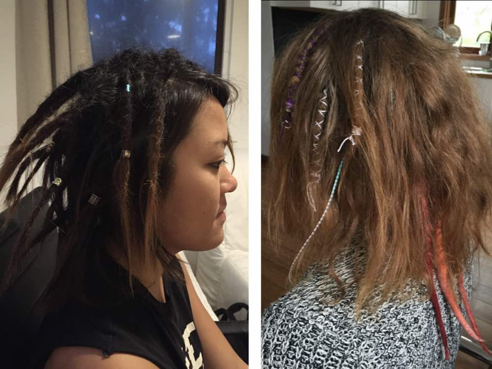 Adorning partial dreads helps them stand out among your normal hair.