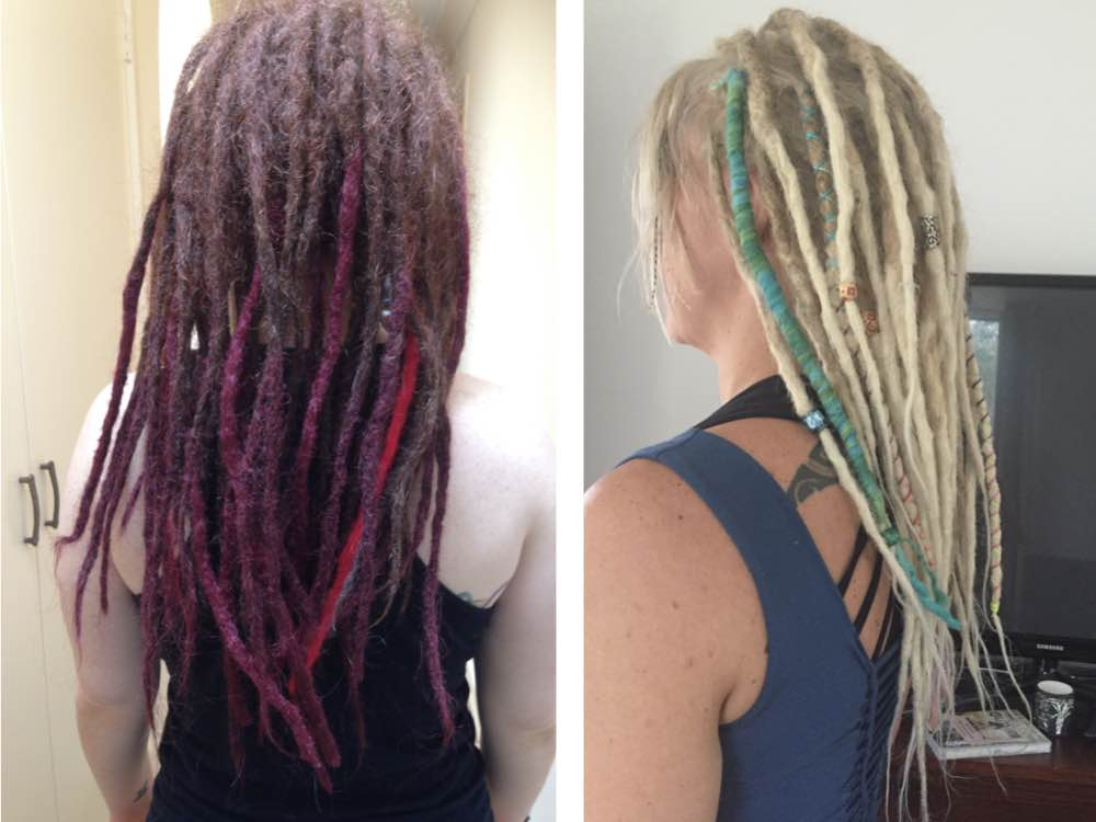 Felt dreads, created from wrapping dreads in yarn, mix up your look and the texture of your hair.