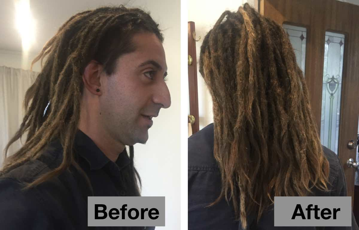 Before and After Dreadlock Maintenance