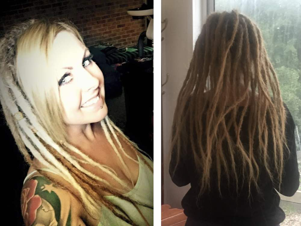 With these blonde dread extensions, leaving a large section of fringe unlocked provides a hybrid look with partially dreaded hair.