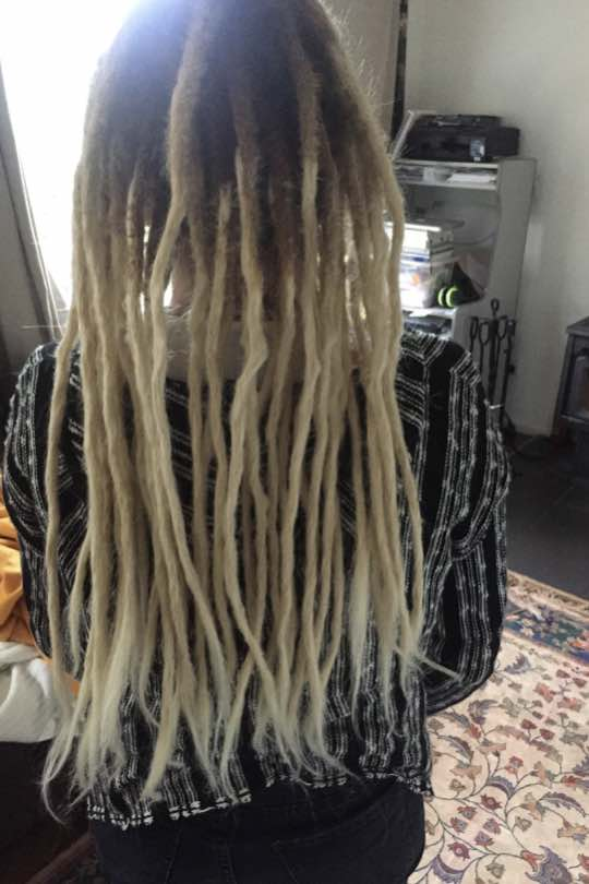 Instant length with blonde dread extensions