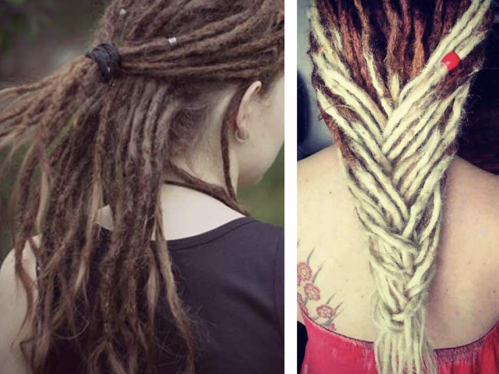 Braiding your dreads with a different coloured dreadlock extension achieves another unique look among dreadlock hairstyles.