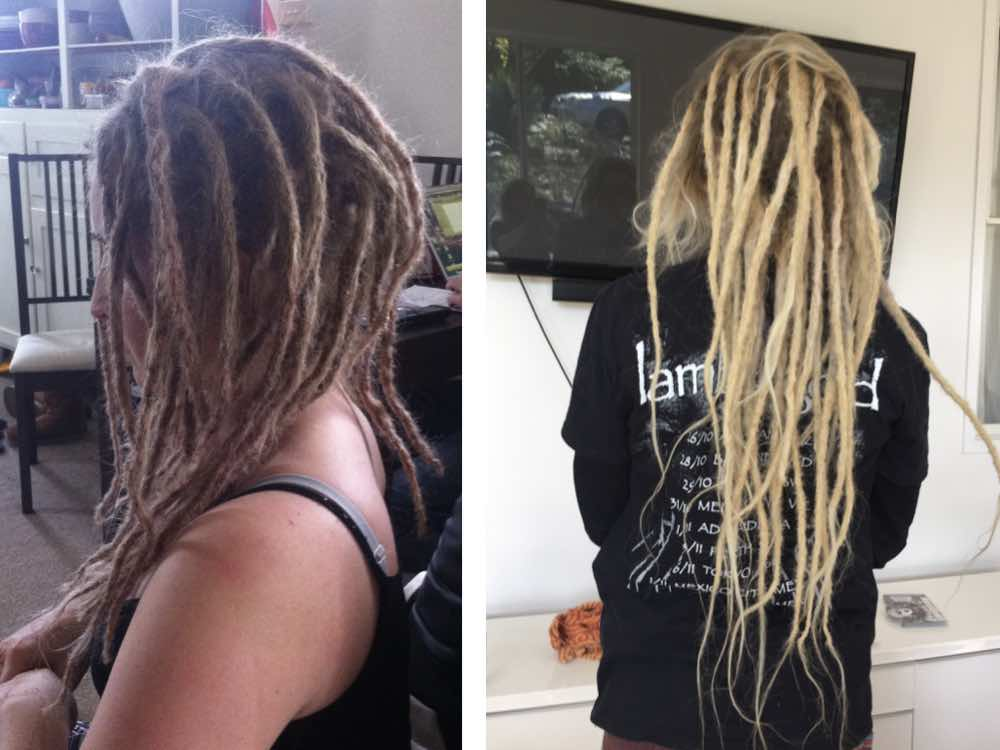 Faux locs can be worn in many ways. The first image shows fully dreaded hair, while the second shows a less groomed look, achieved by leaving some hair undreaded.