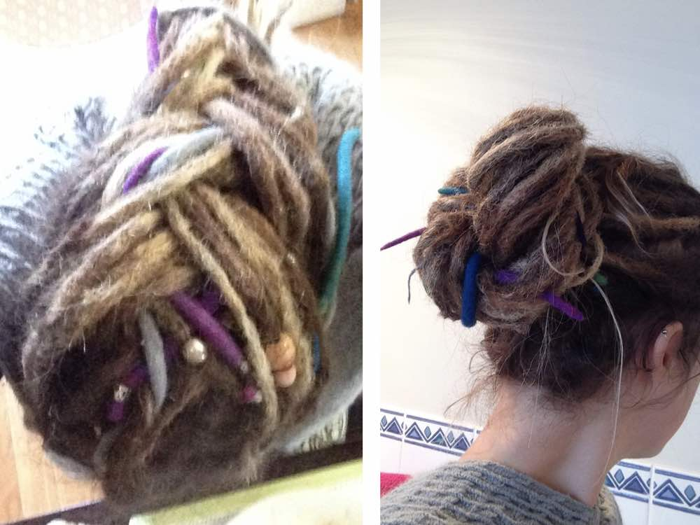 Here our client has braided her half dreads which look great both tied up or worn down.