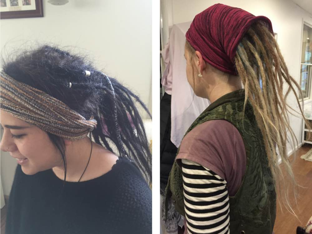 Dreadbands, or loc socs, are handy for times when you're getting close to needing your maintenance done and want your dreads to look less messy.