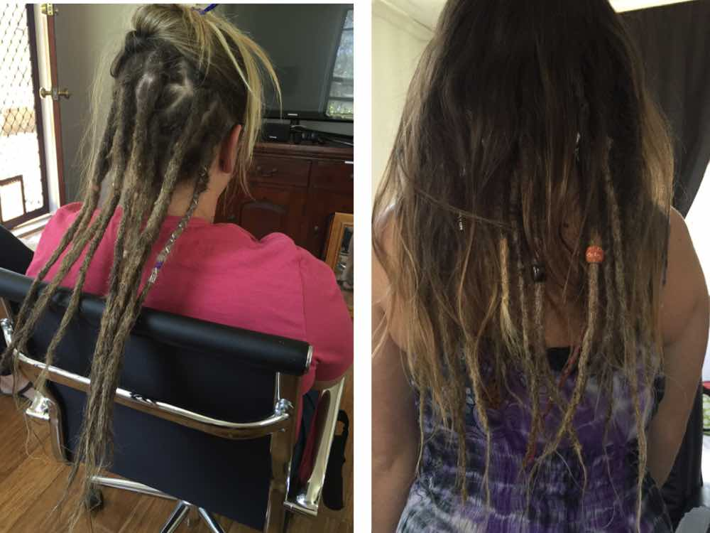 Adorning your partial dreads helps them standout when you're going predominately with unlocked hair.