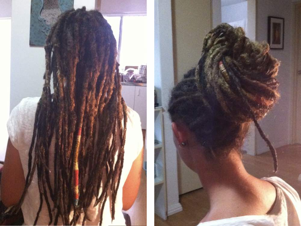 Here our client shows off her locs tied up and left out. Tying them up helps when you need to look professional.